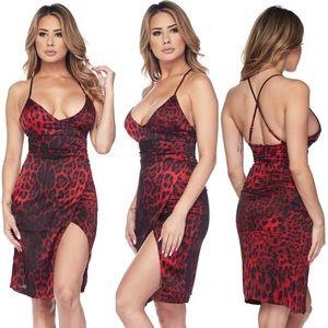 ☀️ Cheetah Satin Faux Wrap Cocktail Sexy Dress